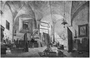 Het atelier van de kunstenaar in de Via dell' Olmo te Rome
