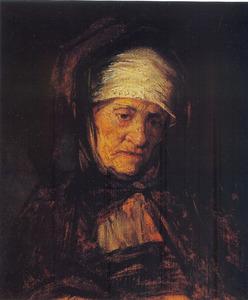 Borststuk van een oude vrouw