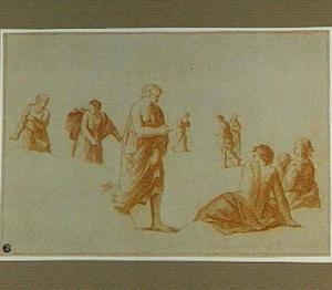 In klassieke draperieën gehulde figuren