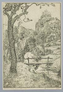 Berglandschap met een figuur bij een beek