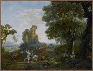 Zuidelijk landschap met een overval op reizigers bij de ruine van een kasteel