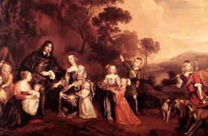 Portret van de familie van Willem van der Does (....-1668) en Wilhelmina van den Honert (....-1689)