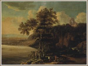 Zuidelijk landschap met rotskust en enkele  reizigers op een landweg