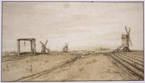 Landschap met molens en galg