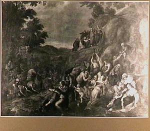 Mozes slaat water uit de rots (Exodus 17:6-7)
