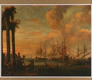 Mediterraan kustlandschap met Hollandse schepen voor anker in een baai