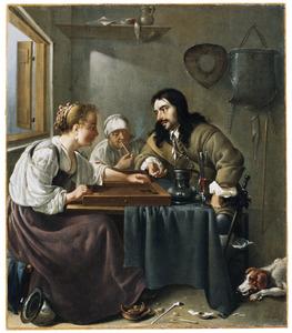Interieur met tric-trac spelend stel; op de achtergrond een oude, pijprokende vrouw