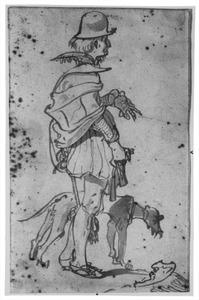Staande man met hond, naar rechts