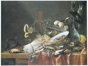Stilleven met groenten, fruit en jachtbuit, links een kat