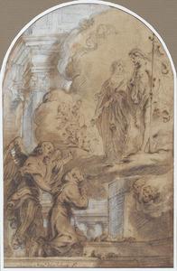 Verschijning van Maria en Christus aan een heilige monnik