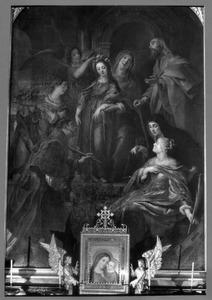 Maria wordt door haar ouders en diverse heiligen voorbereid op haar eerste tempelgang