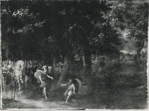 Boslandschap met Diogenes en Alexander de Grote