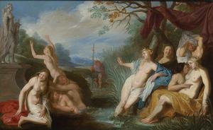Diana en haar nimfen door Actaeon bespied