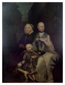 Portret van Margaretha Sautijn (1726-1805) met haar zoon Appolonius Jan Cornelis Lampsins (1754-1834) en haar moeder Constantia Catharina Munter (1684-1768))