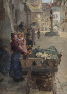 Groenten verkopen in Kramgasse, Bern