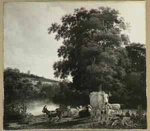 Landschap met vee bij een rivier