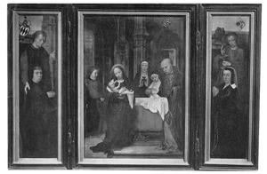 De H. Philippus met Philip Wielant (links), de presentatie in de tempel (midden), de H. Johannes de Evangelist met Jeanne van Haleweyn (rechts)