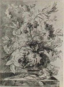 Bloemstilleven in een vaas, versierd met putti, op een marmeren blad