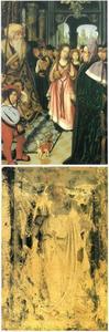 Het dispuut van de H. Catharina van Alexandrië met keizer Maximinus en de vijftig wijzen te Alexandrië (binnenzijde links), de H. Catharina (buitenzijde links; in grisaille)