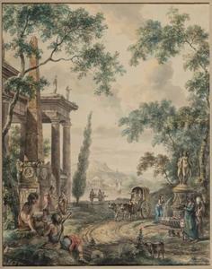 Landschap met obelisk, fontein en figuren