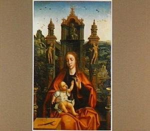 Maria met kind op een geornamenteerde troon in een landschap