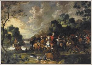 Ruitergevecht op de oever van een rivier