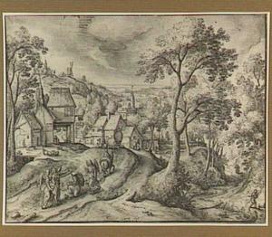 Landschap met Abraham, die knielt voor de drie engelen (Genesis 18:1-15)