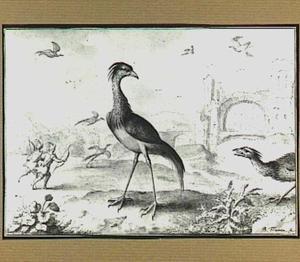 Heuvellandschap met vogels en jagers bij een stadsruïne