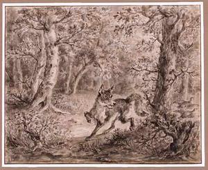 Vos en twee vluchtende vogels in boslandschap
