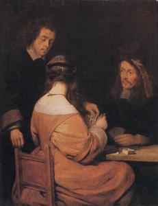 Twee kaartspelende mannen en een vrouw, gezeten aan een tafel