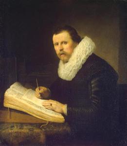 Portret van een man aan een schrijftafel