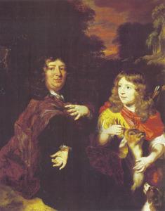 Portret van een man en zijn zoontje