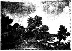 Rivierlandschap met kasteel, boerderij en duiventil