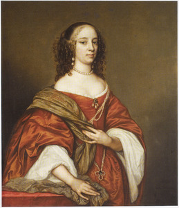 Portret van een onbekende vrouw in een oranje jurk