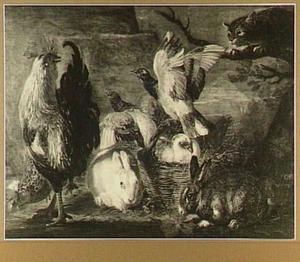 Kip, konijnen en duiven in een landschap, rechts op een boomtak zit een kat