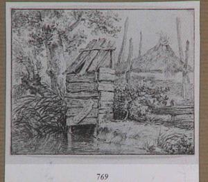 Landschap met hooiberg en schijthuis