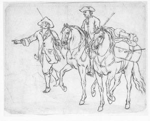 Soldaat te paard met pakpaard en voetknecht