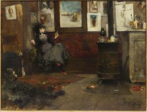 Vrouw op een sofa in een schildersatelier