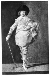 Een staande man met een wandelstok