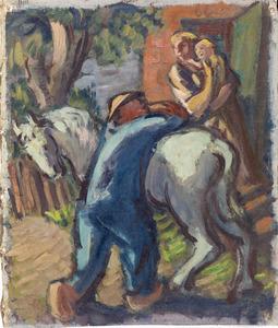 Souvenir d' Italie : Mann mit Pferd und Frau mit Kind (authentiek)