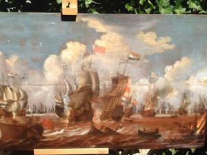 Zeeslag tussen Hollandse en Engelse schepen
