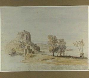 Dorp en fortificaties aan een baai