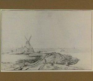 Duinlandschap met windmolen