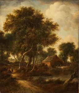 Boslandschap met wandelaars en een visser bij een watermolen