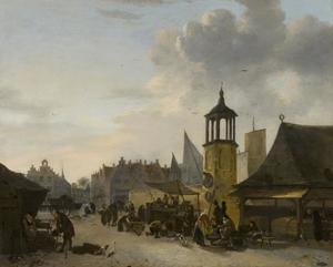 Gezicht op een markt in een stad
