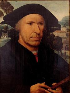 Portret van een man met een maatstok