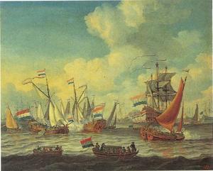 Spiegelgevecht op het IJ ter ere van het verblijf van Peter de Grote in Amsterdam