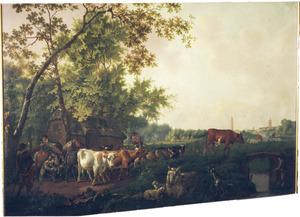 Herders met vee, in de achtergrond een gezicht op Delft