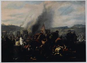 Romeinse veldslag met ruiters en olifanten