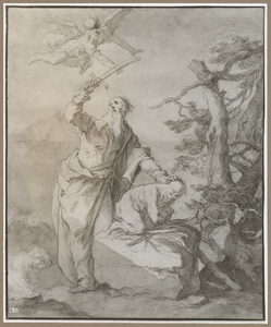 Een engel weerhoudt Abraham van het offeren van Isaäk
